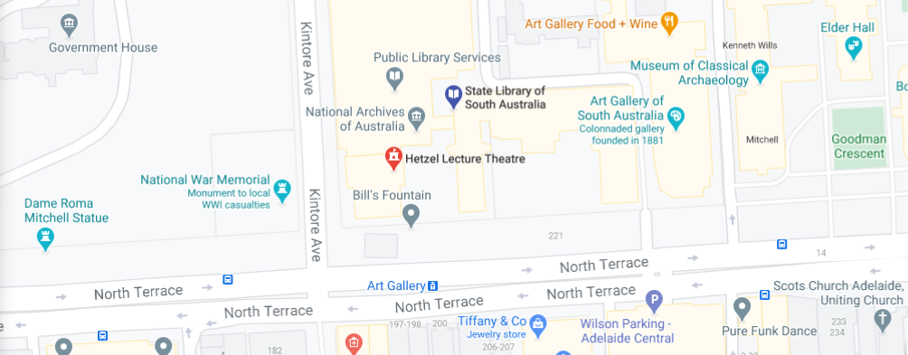 map of Nth Tce Hetzel theatre State Library of South Australia